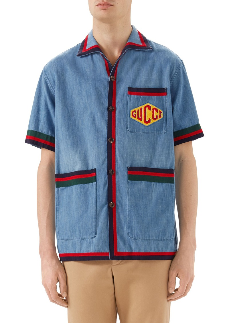 e62ae2f60a5f Gucci Gucci Stonewash Denim Bowling Shirt