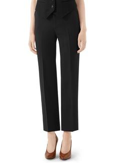 Gucci Straight Leg Wool & Silk Cady Crepe Pants