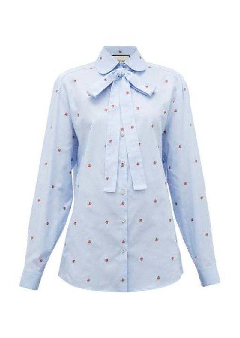 Gucci Strawberry fil-coupé cotton-oxford shirt
