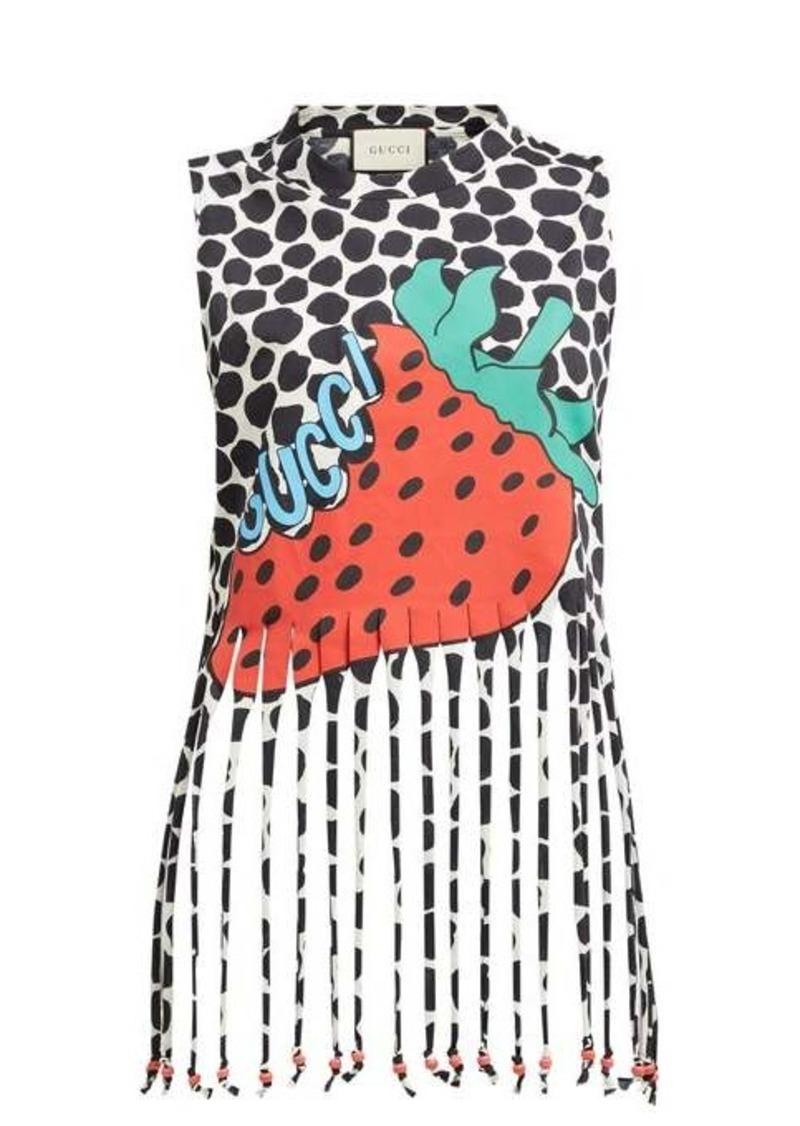 Gucci Strawberry-print cotton-jersey tank top