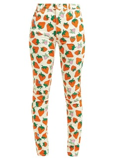 Gucci Strawberry-print stretch-denim jeans