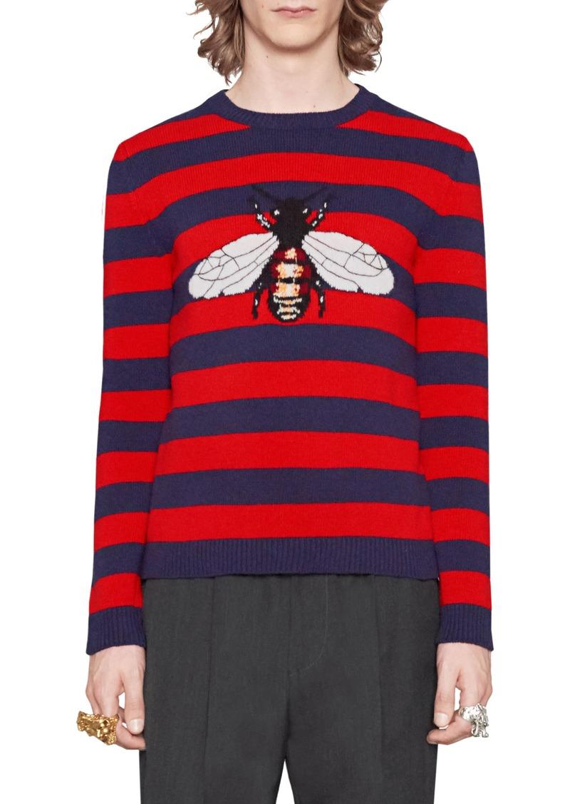ee9fd1ae902d21 Gucci Gucci Stripe Bee Wool Crewneck Sweater