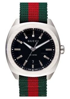 Gucci Stripe Fabric Strap Watch, 40mm
