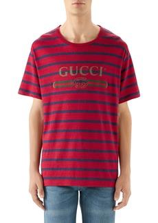 Gucci Stripe Logo Oversize Linen & Cotton T-Shirt