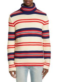 Gucci Stripe Mock Neck Cotton & Wool Sweater