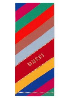 Gucci Stripe Studded Logo Wool Scarf