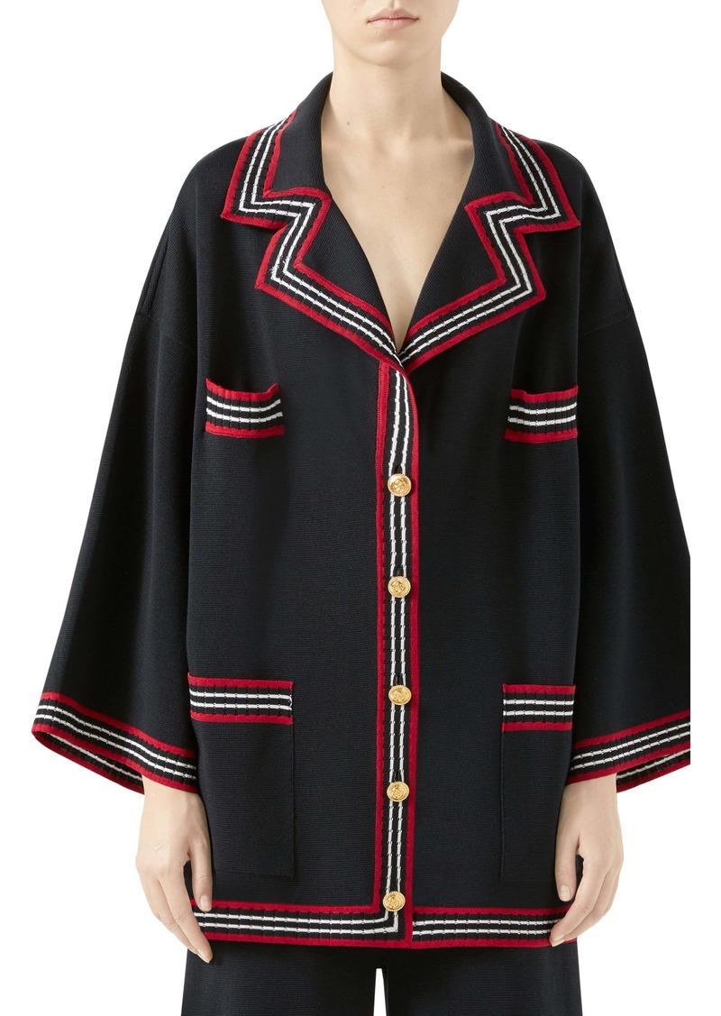 Gucci Stripe Trim Knit Caban Jacket