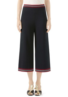 Gucci Stripe Trim Wool & Cotton Knit Crop Pants