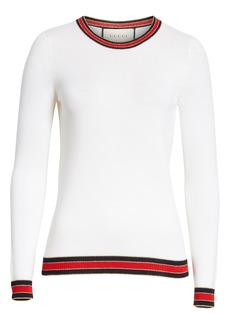 Gucci Stripe Trim Wool Sweater