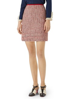 Gucci Stripe Tweed A-Line Skirt