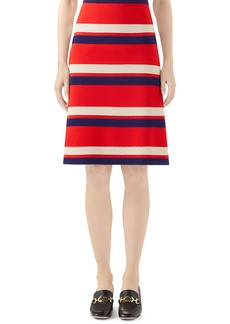 Gucci Stripe Wool Skirt