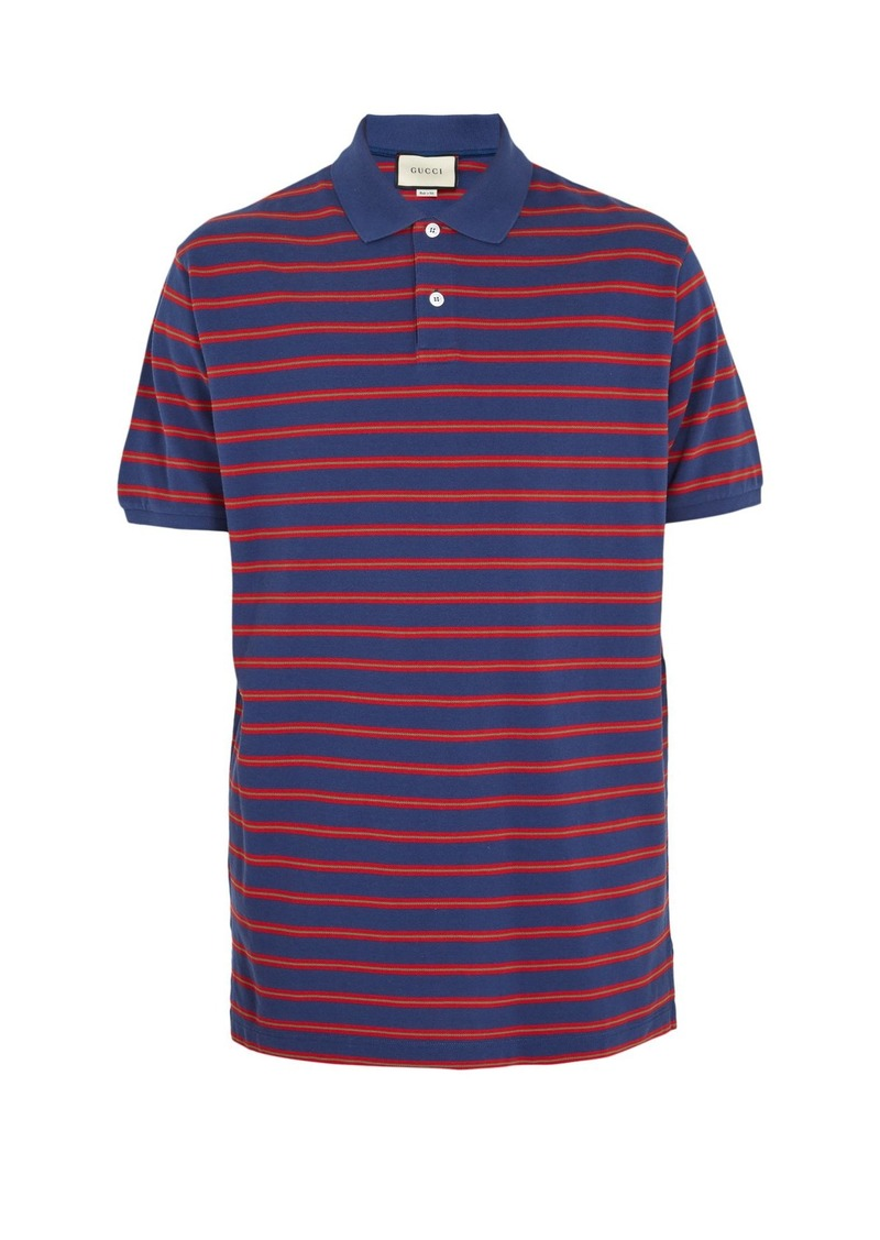 fd98eb04b60 Gucci Gucci Striped cotton-piqué polo shirt