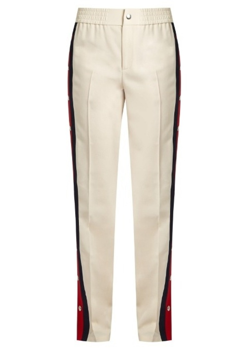 0ba65e5b2 Gucci Gucci Striped-side wool and silk-blend trousers | Casual Pants