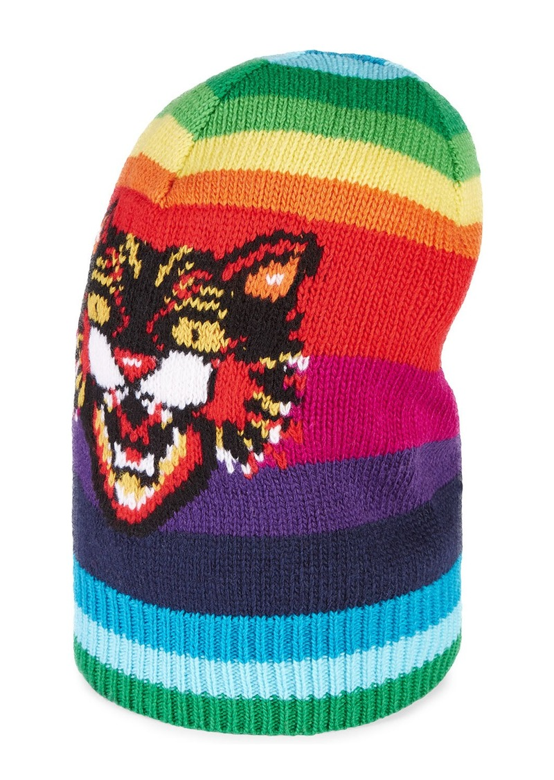 884f1539204b2 Gucci Gucci Striped Wool Hat with Angry Cat