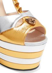 43c483895454 ... Gucci Studded two-tone metallic leather platform sandals ...