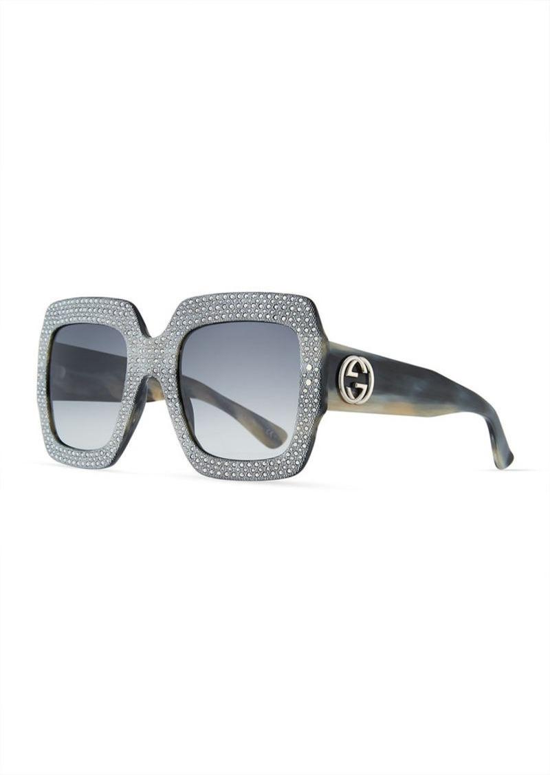 Gucci Sunsights Crystal-Trim Square Gradient Sunglasses