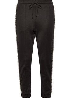 Gucci Swarovski crystal-embellished striped tech-jersey track pants