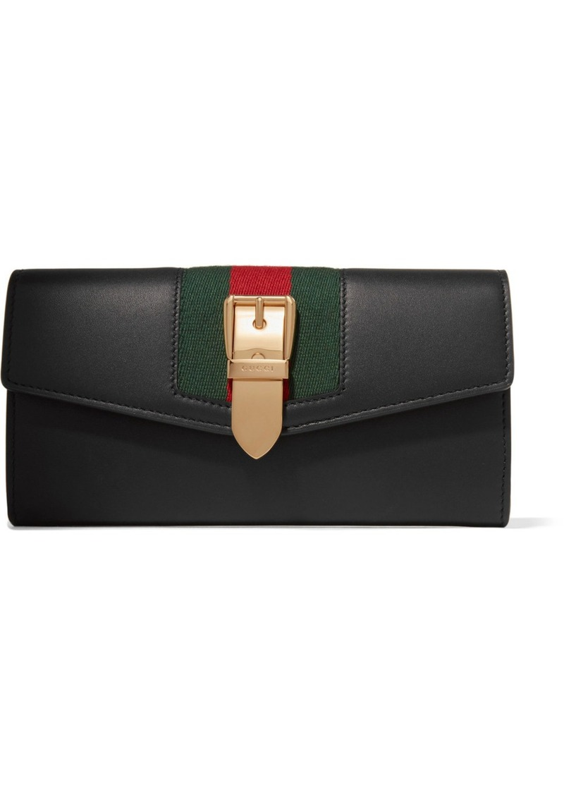 4d3848176f53 Gucci Sylvie Canvas-trimmed Leather Continental Wallet | Handbags