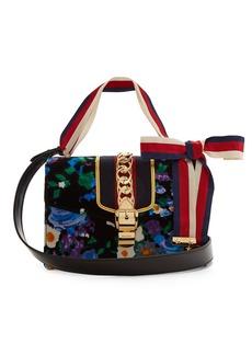 Gucci Sylvie floral-print velvet shoulder bag