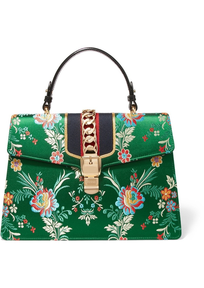 d3e1b5fe40d8 Gucci Sylvie large chain-embellished jacquard and leather tote ...
