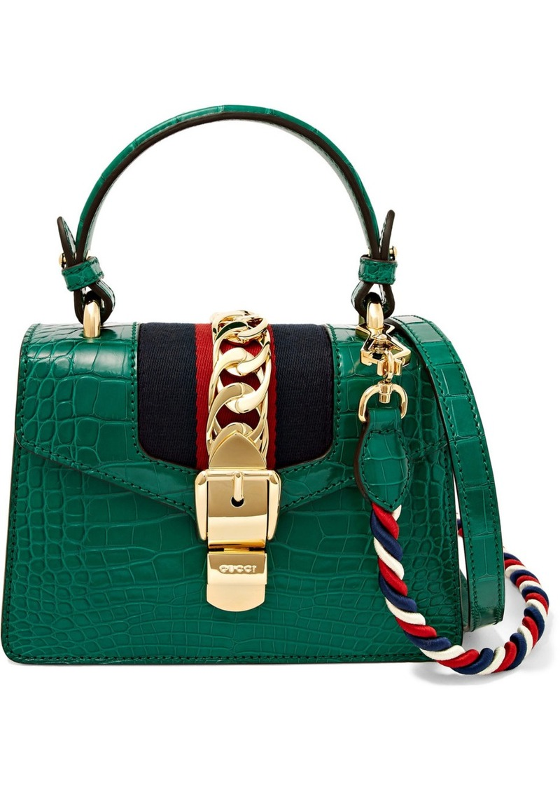 1eebfcf822ee Gucci Sylvie Mini Chain-embellished Alligator Shoulder Bag