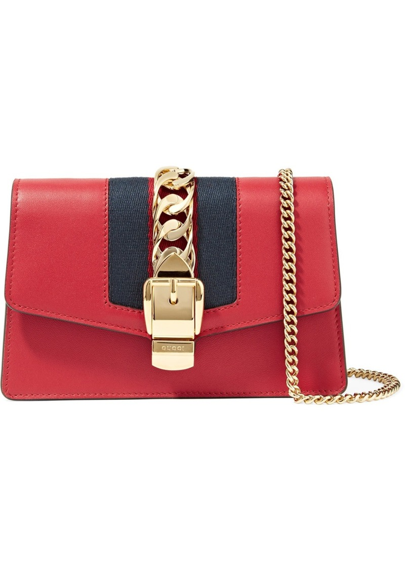 7e2263463024 Gucci Sylvie Mini Chain-embellished Leather Shoulder Bag