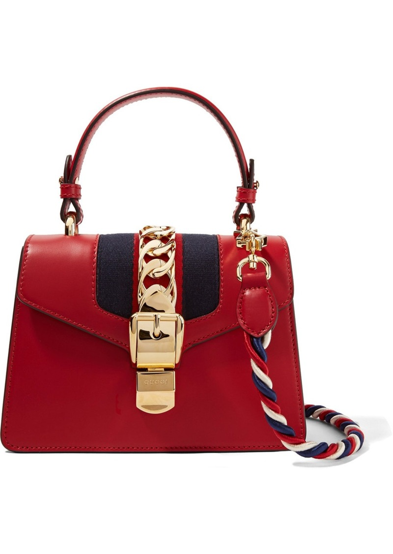 e01bdf3af35085 Gucci Sylvie Mini Chain-trimmed Leather And Canvas Shoulder Bag ...