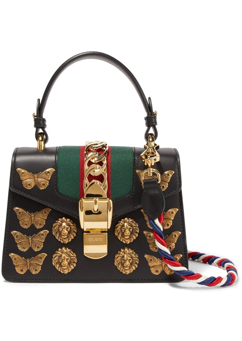 6bc9684a5cc60 Gucci Gucci Sylvie mini embellished leather shoulder bag