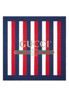 Gucci Sylvie Stripe Silk Scarf