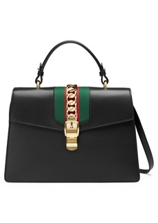 Gucci Sylvie Top Handle Leather Shoulder Bag