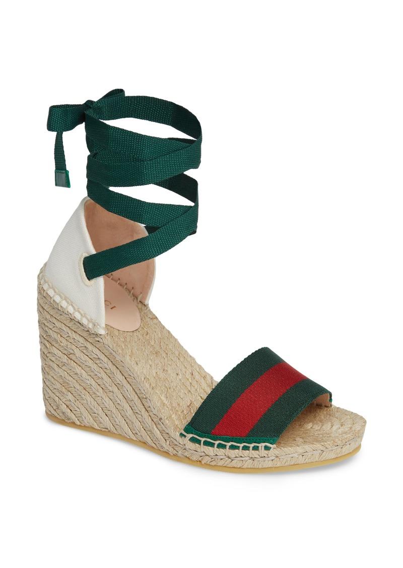 Gucci Lilibeth Web Espadrille Wedge Sandal (Women)