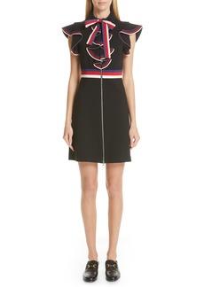 Gucci Web Ruffle Stretch Jersey Dress