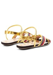 2e23b1322baa4 ... Gucci Sylvie Web-trimmed leather sandals ...