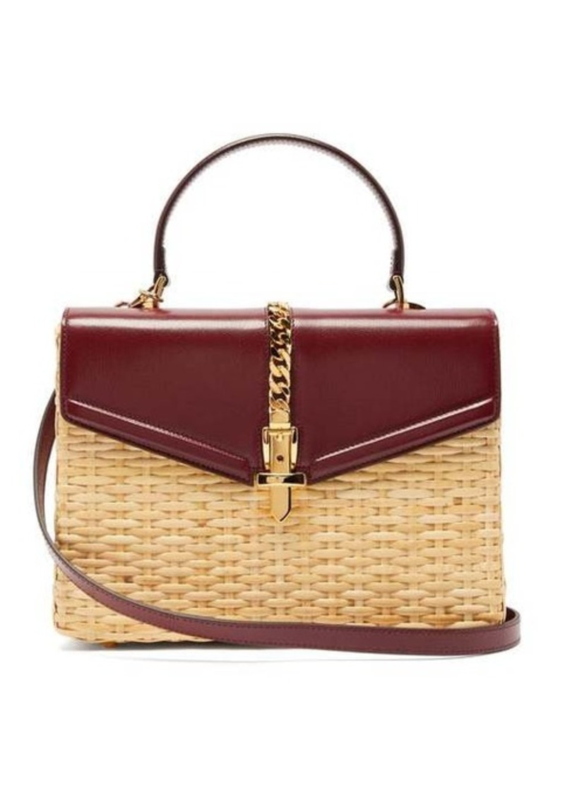 Gucci Sylvie wicker and leather top-handle bag