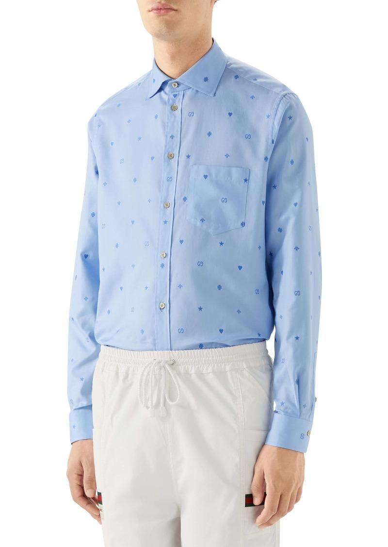 Gucci Symbols Fil Coupé Cotton Button-Up Shirt