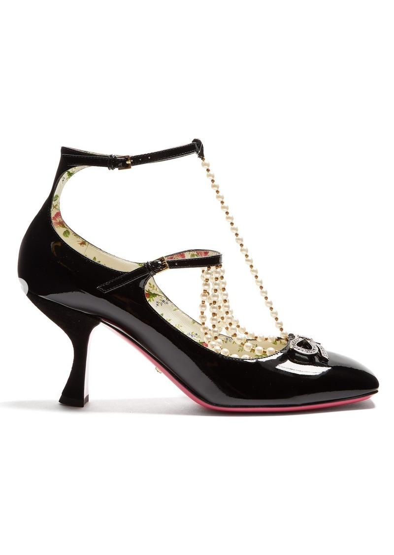 e7e500e5c Gucci Gucci Taide crystal-embellished patent-leather pumps | Shoes