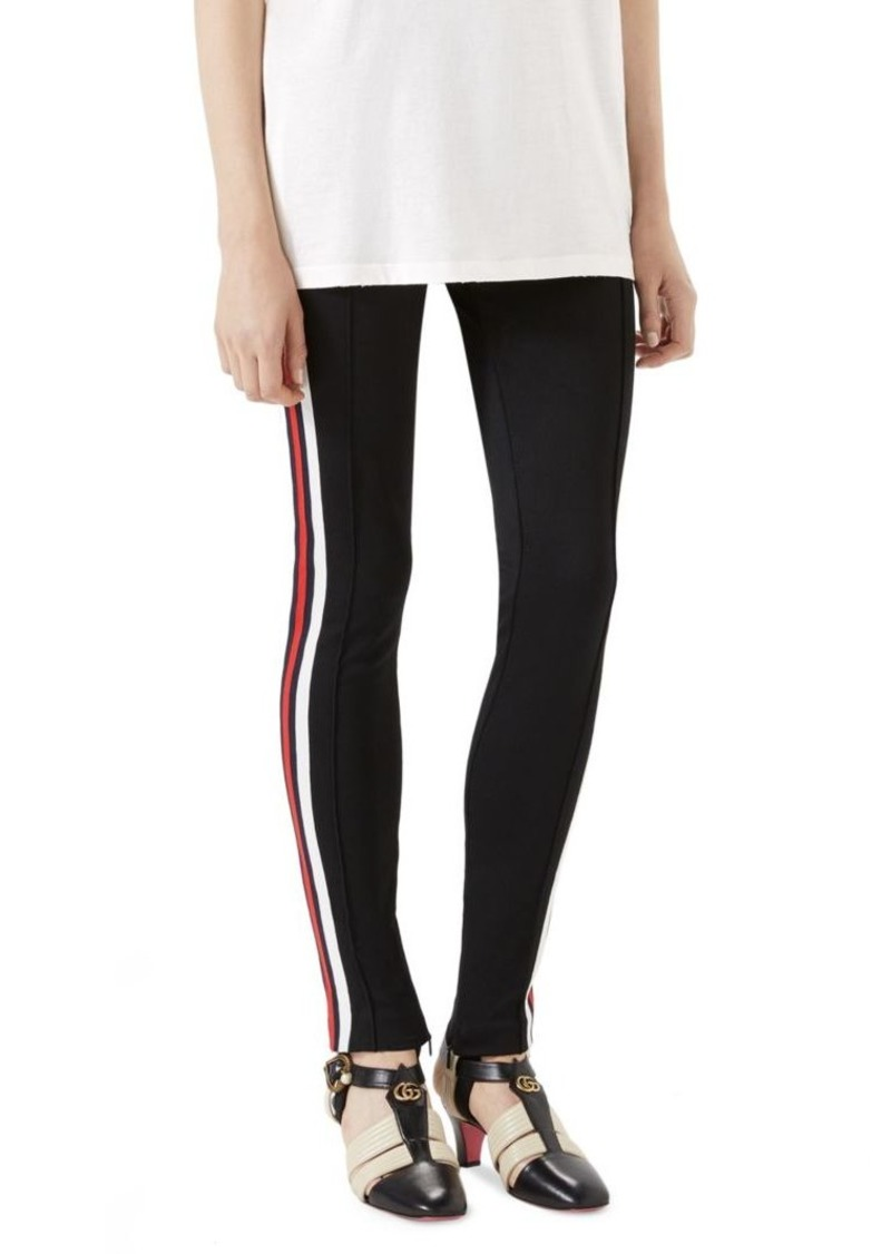 a64ab8eb3c5 Gucci Tech Jersey Stripe Stirrup Pants