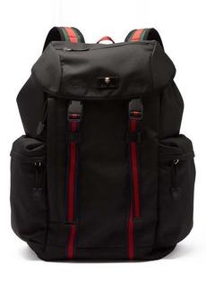 Gucci Techno web-stripe canvas backpack