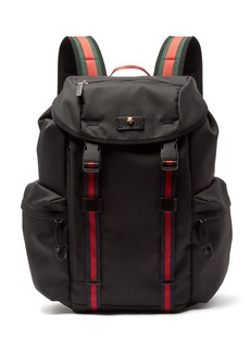 Gucci Techno web-stripe canvas backpack