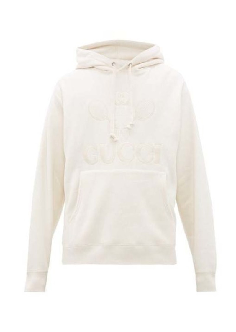 Gucci Tennis-embroidered cotton hooded sweatshirt