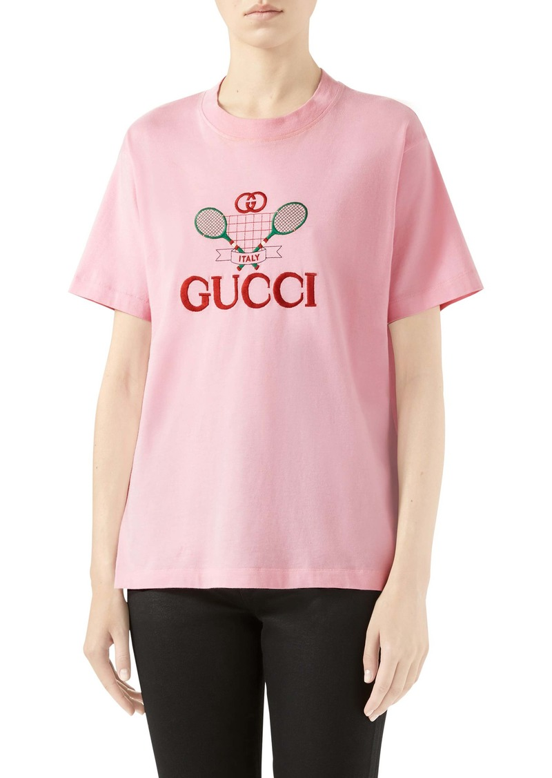 Gucci Tennis Embroidered Cotton Tee