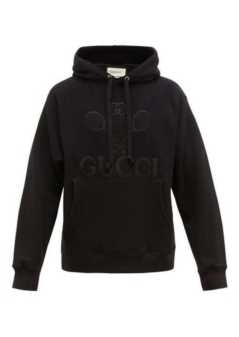 Gucci Tennis logo-embroidered cotton hooded sweatshirt