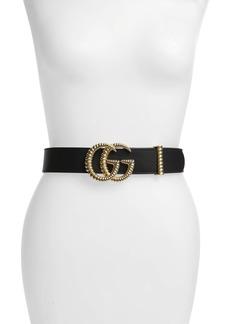 Gucci Textured GG Logo Leather Belt