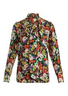 Gucci Tie-neck floral-print silk shirt