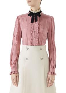 Gucci Tie Neck Ruffle Detail Silk Blouse