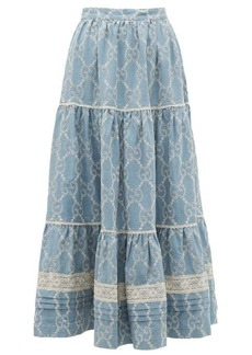 Gucci Tiered GG broderie-anglaise cotton skirt