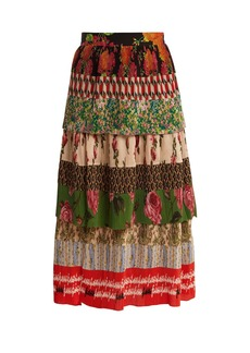 Gucci Tiered patchwork-print silk-plissé midi skirt