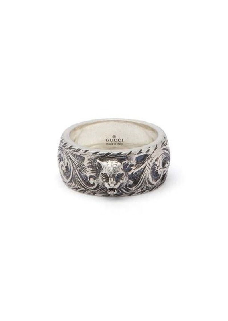 Gucci Tiger and GG-engraved sterling silver ring