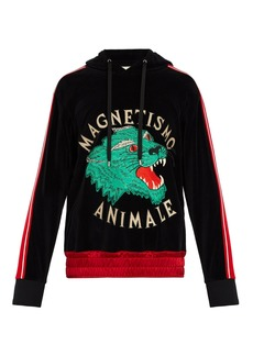 Gucci Tiger-appliqué velvet hooded sweatshirt