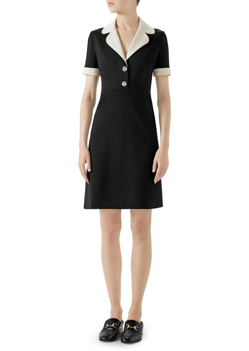 033301b43 Gucci Gucci Tiger Button Contrast Trim Jersey Dress | Dresses